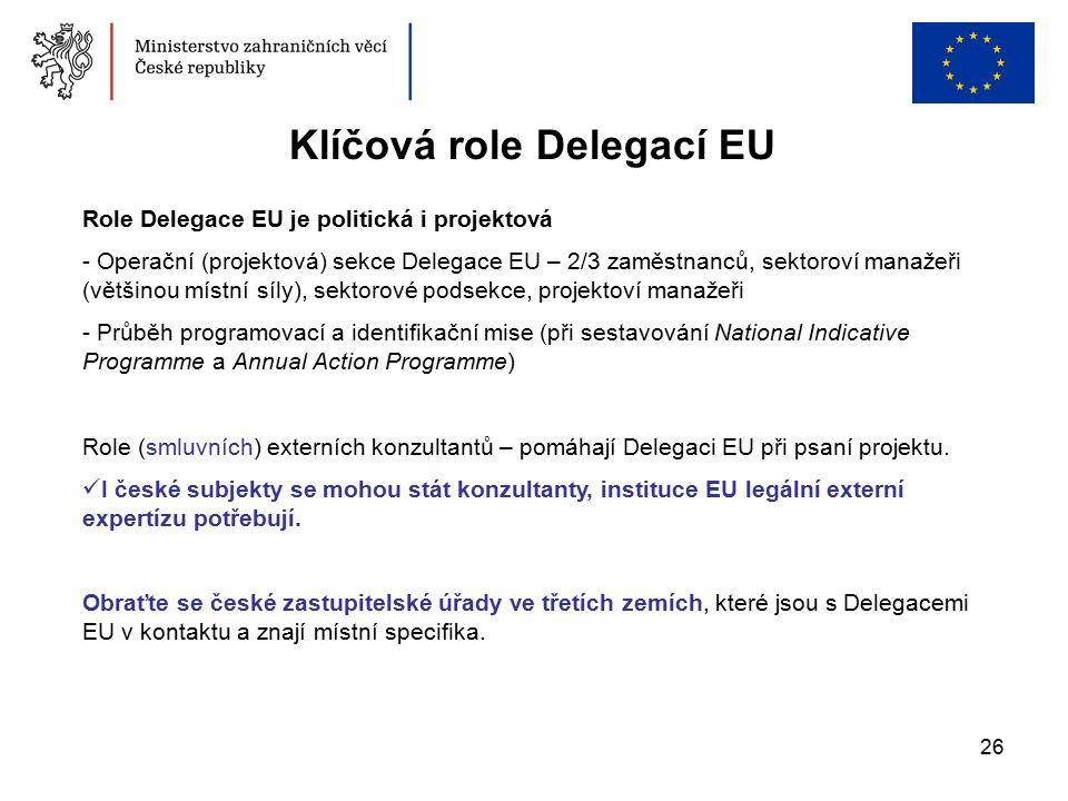 26 Klíčová role Delegací EU Role Delegace EU je politická i projektová - Operační (projektová) sekce Delegace EU – 2/3 zaměstnanců, sektoroví manažeři (většinou místní síly), sektorové podsekce, projektoví manažeři - Průběh programovací a identifikační mise (při sestavování National Indicative Programme a Annual Action Programme) Role (smluvních) externích konzultantů – pomáhají Delegaci EU při psaní projektu.