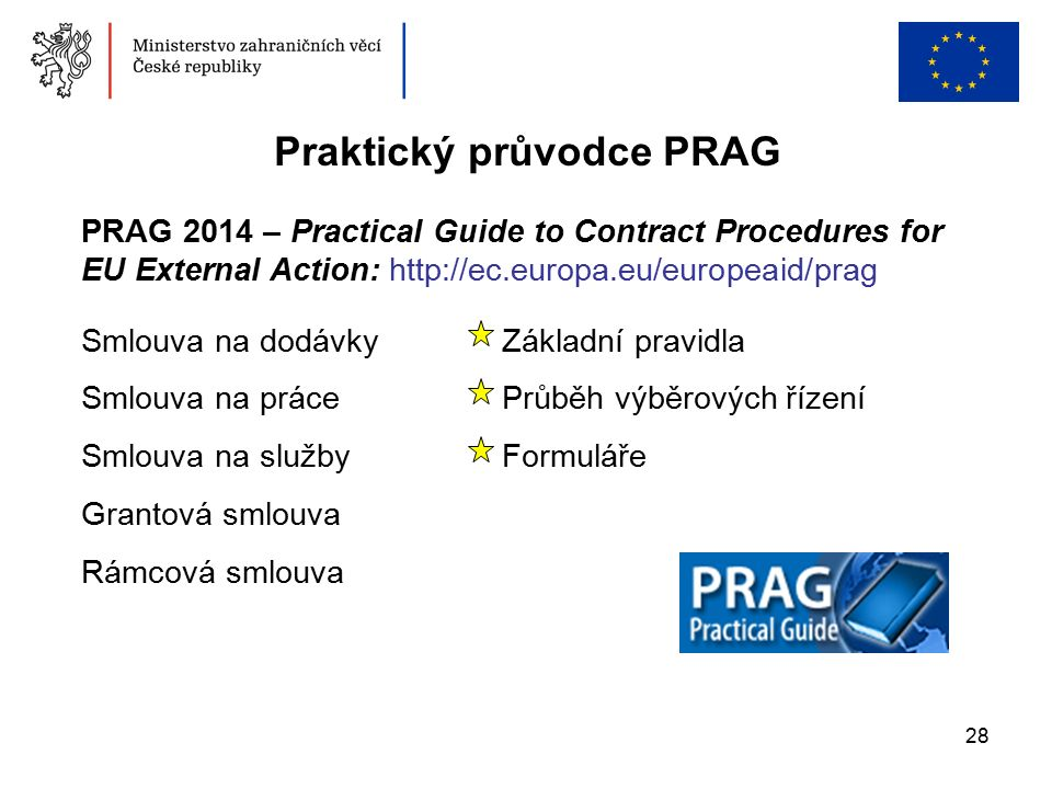 28 Praktický průvodce PRAG PRAG 2014 – Practical Guide to Contract Procedures for EU External Action: http://ec.europa.eu/europeaid/prag Smlouva na do
