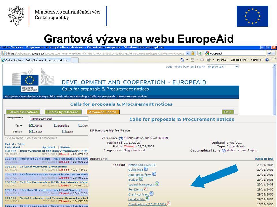 46 Grantová výzva na webu EuropeAid