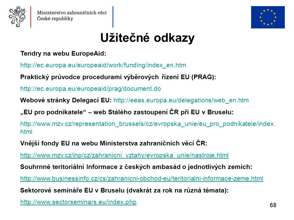 """68 Užitečné odkazy Tendry na webu EuropeAid: http://ec.europa.eu/europeaid/work/funding/index_en.htm Praktický průvodce procedurami výběrových řízení EU (PRAG): http://ec.europa.eu/europeaid/prag/document.do Webové stránky Delegací EU: http://eeas.europa.eu/delegations/web_en.htm """"EU pro podnikatele – web Stálého zastoupení ČR při EU v Bruselu: http://www.mzv.cz/representation_brussels/cz/evropska_unie/eu_pro_podnikatele/index."""