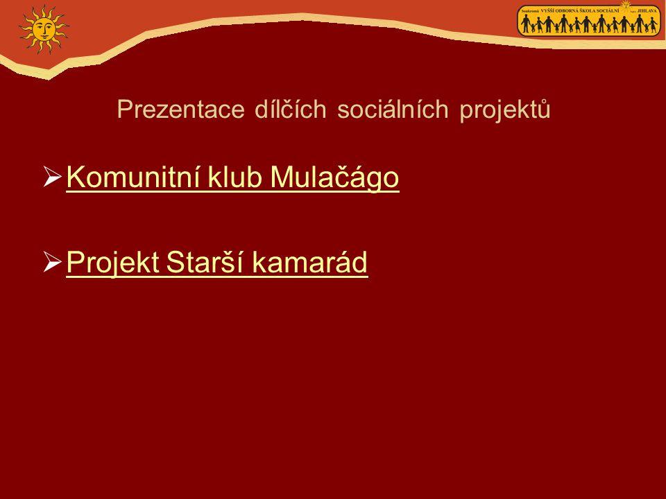 Prezentace dílčích sociálních projektů  Komunitní klub Mulačágo Komunitní klub Mulačágo  Projekt Starší kamarád Projekt Starší kamarád