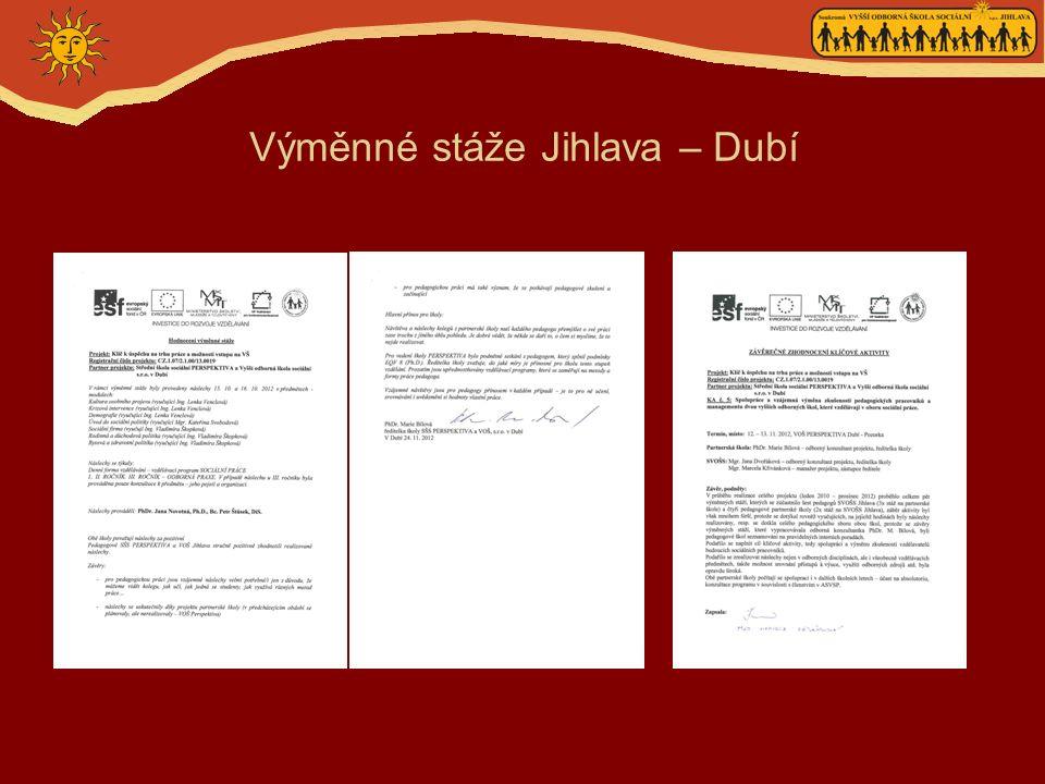 Výměnné stáže Jihlava – Dubí