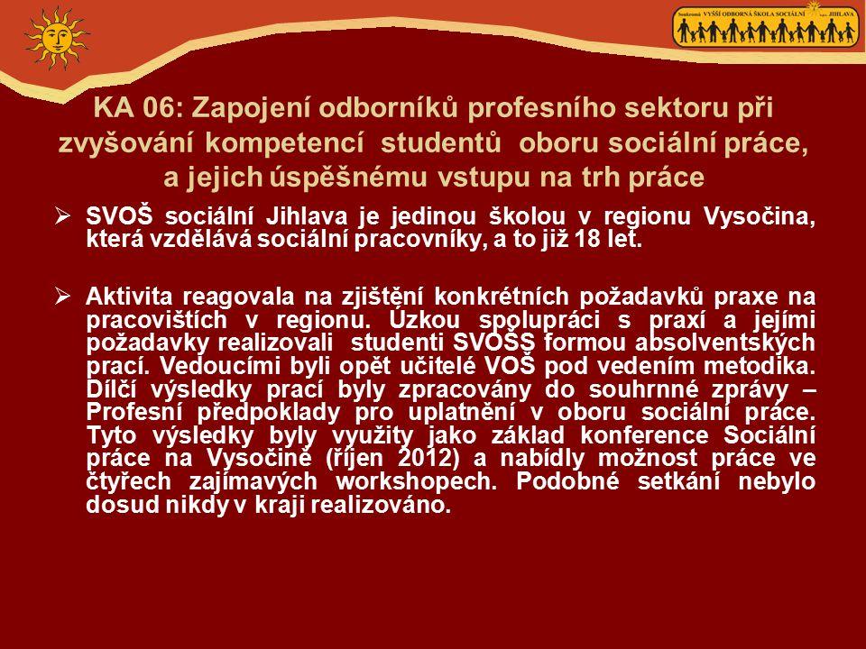 KA 06: Zapojení odborníků profesního sektoru při zvyšování kompetencí studentů oboru sociální práce, a jejich úspěšnému vstupu na trh práce  SVOŠ sociální Jihlava je jedinou školou v regionu Vysočina, která vzdělává sociální pracovníky, a to již 18 let.