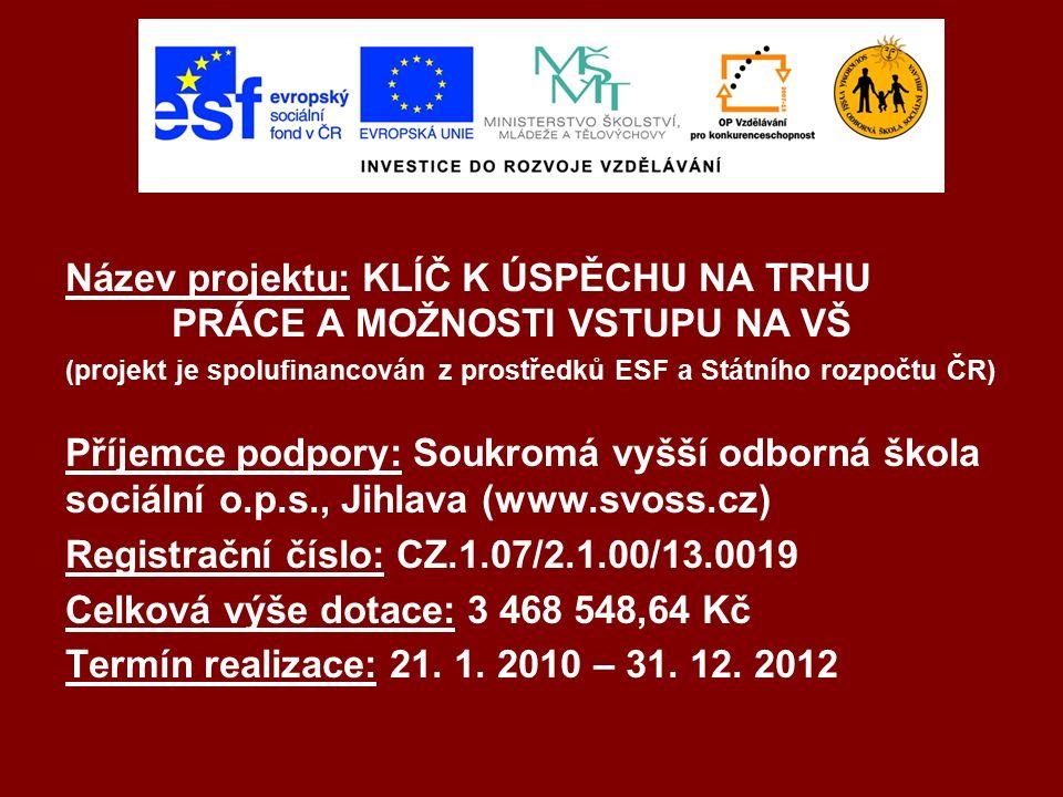 Název projektu: KLÍČ K ÚSPĚCHU NA TRHU PRÁCE A MOŽNOSTI VSTUPU NA VŠ (projekt je spolufinancován z prostředků ESF a Státního rozpočtu ČR) Příjemce podpory: Soukromá vyšší odborná škola sociální o.p.s., Jihlava (www.svoss.cz) Registrační číslo: CZ.1.07/2.1.00/13.0019 Celková výše dotace: 3 468 548,64 Kč Termín realizace: 21.