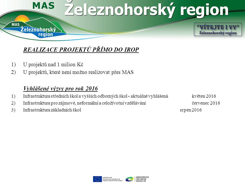REALIZACE PROJEKTŮ PŘÍMO DO IROP 1)U projektů nad 1 milion Kč 2)U projektů, které není možno realizovat přes MAS Vyhlášené výzvy pro rok 2016 1)Infras
