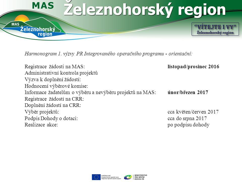 Harmonogram 1. výzvy PR Integrovaného operačního programu - orientační: Registrace žádosti na MAS: listopad/prosinec 2016 Administrativní kontrola pro