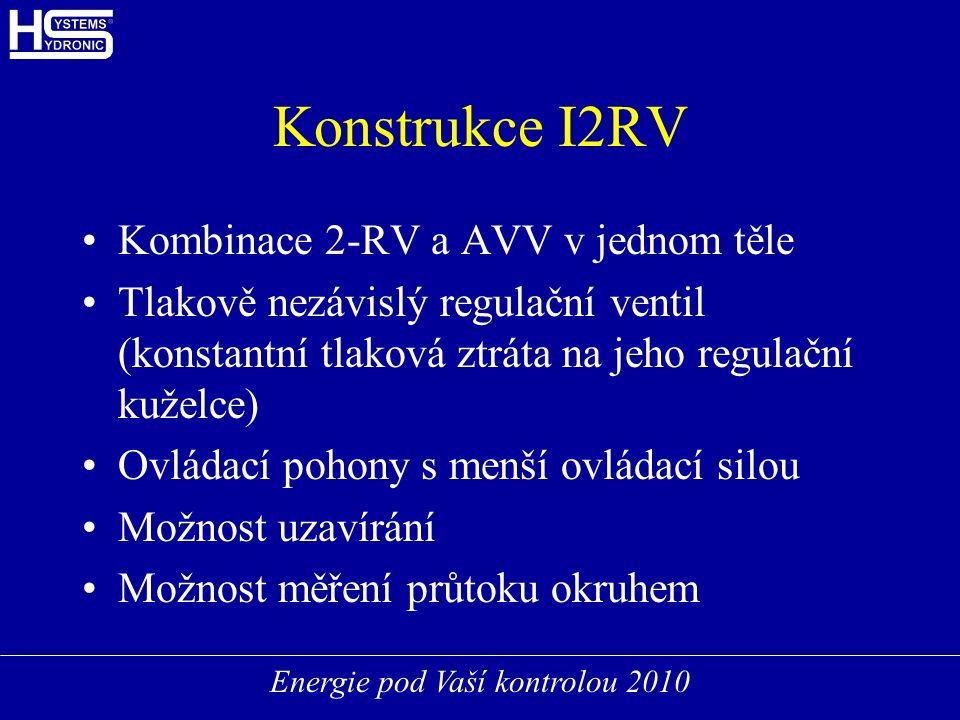 Energie pod Vaší kontrolou 2010 Konstrukce I2RV Kombinace 2-RV a AVV v jednom těle Tlakově nezávislý regulační ventil (konstantní tlaková ztráta na jeho regulační kuželce) Ovládací pohony s menší ovládací silou Možnost uzavírání Možnost měření průtoku okruhem