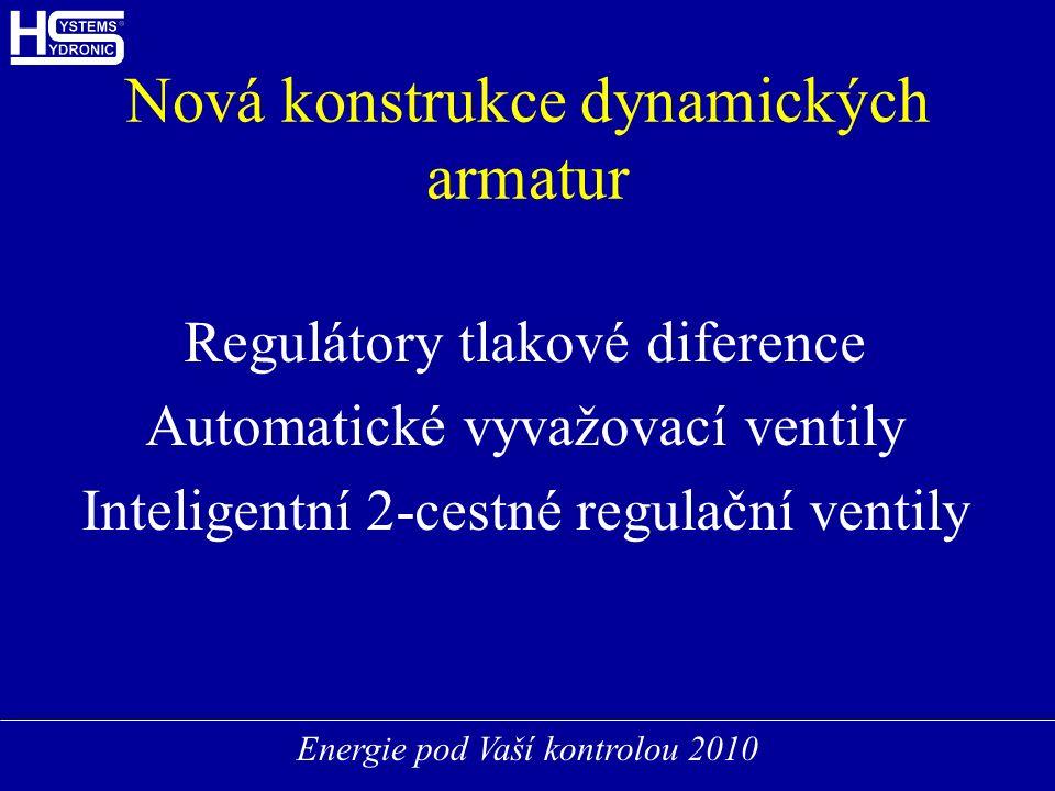 Energie pod Vaší kontrolou 2010 Nová konstrukce dynamických armatur Regulátory tlakové diference Automatické vyvažovací ventily Inteligentní 2-cestné regulační ventily