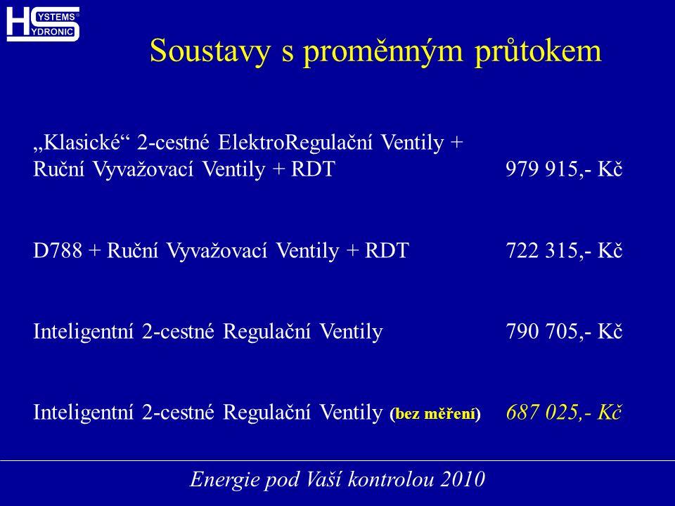 """Energie pod Vaší kontrolou 2010 Soustavy s proměnným průtokem """"Klasické 2-cestné ElektroRegulační Ventily + Ruční Vyvažovací Ventily + RDT979 915,- Kč D788 + Ruční Vyvažovací Ventily + RDT722 315,- Kč Inteligentní 2-cestné Regulační Ventily790 705,- Kč Inteligentní 2-cestné Regulační Ventily (bez měření) 687 025,- Kč"""