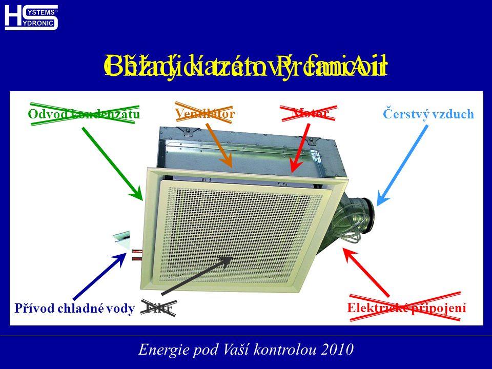 Energie pod Vaší kontrolou 2010 Běžný kazetový fancoil Ventilátor Filtr Motor Přívod chladné vody Odvod kondenzátu Elektrické připojení Chladicí trám PremiAir Čerstvý vzduch