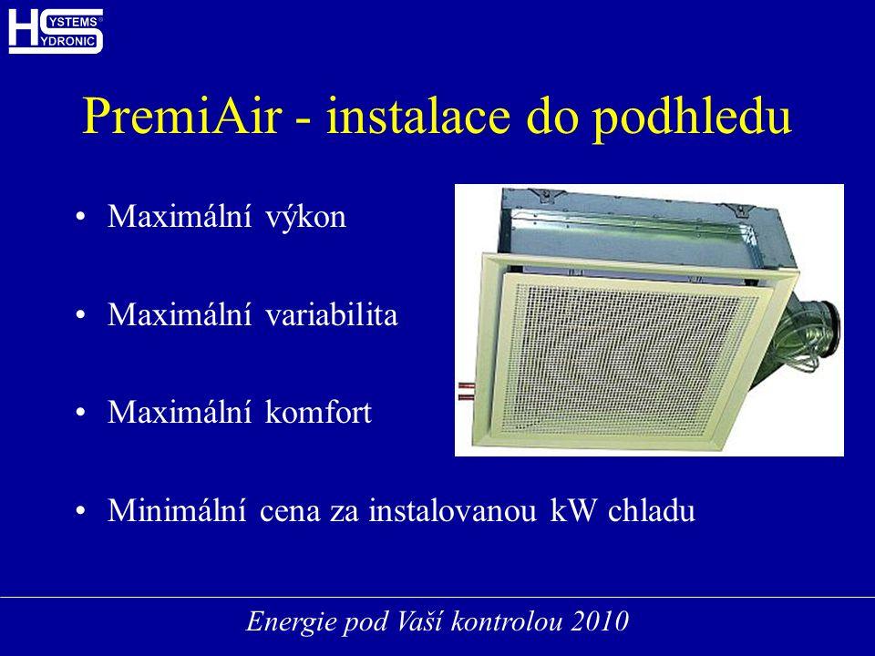 Energie pod Vaší kontrolou 2010 PremiAir - instalace do podhledu Maximální výkon Maximální variabilita Maximální komfort Minimální cena za instalovanou kW chladu