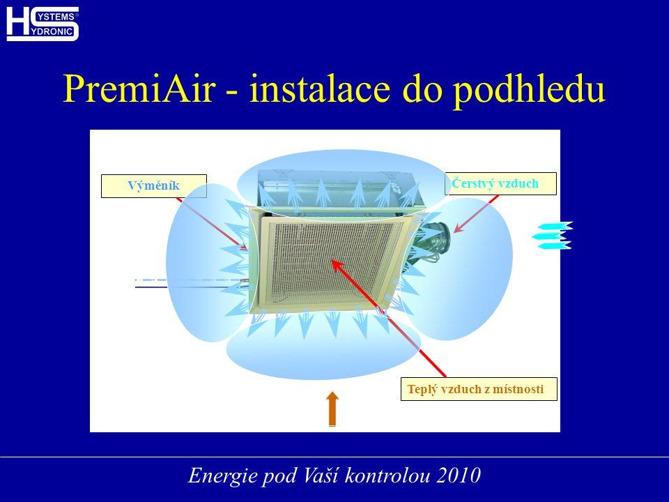 Energie pod Vaší kontrolou 2010 PremiAir - instalace do podhledu Čerstvý vzduch Teplý vzduch z místnosti Výměník