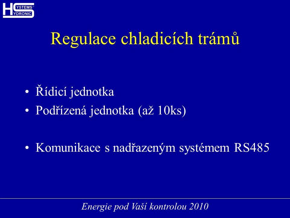 Energie pod Vaší kontrolou 2010 Regulace chladicích trámů Řídicí jednotka Podřízená jednotka (až 10ks) Komunikace s nadřazeným systémem RS485