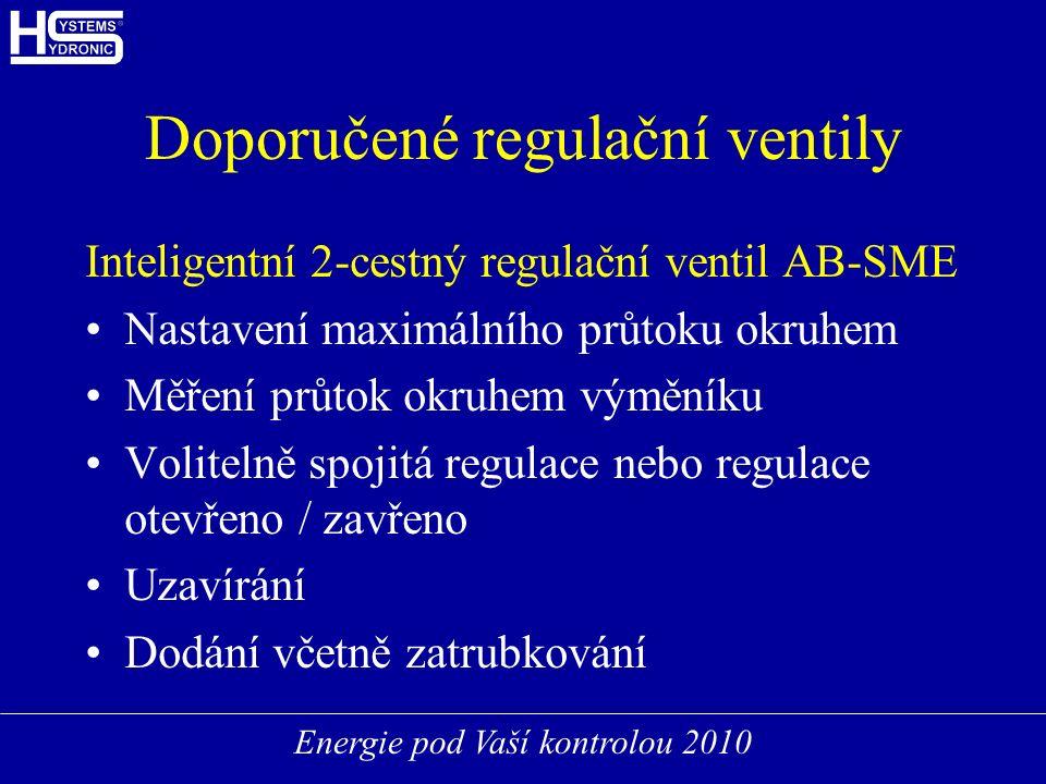 Energie pod Vaší kontrolou 2010 Doporučené regulační ventily Inteligentní 2-cestný regulační ventil AB-SME Nastavení maximálního průtoku okruhem Měření průtok okruhem výměníku Volitelně spojitá regulace nebo regulace otevřeno / zavřeno Uzavírání Dodání včetně zatrubkování