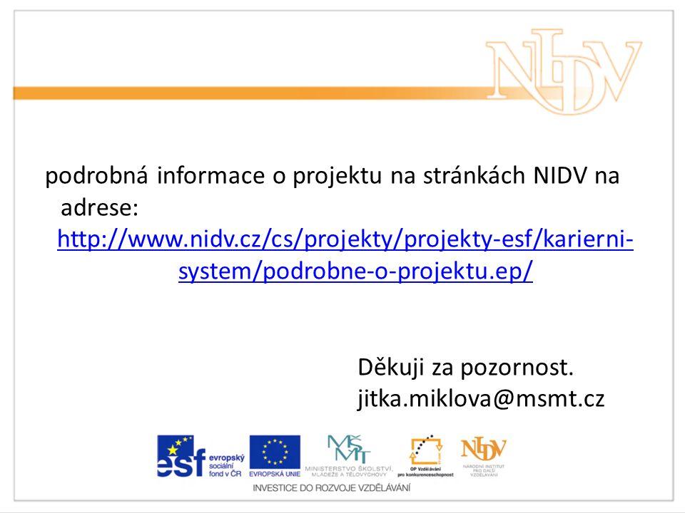 podrobná informace o projektu na stránkách NIDV na adrese: http://www.nidv.cz/cs/projekty/projekty-esf/karierni- system/podrobne-o-projektu.ep/ Děkuji za pozornost.