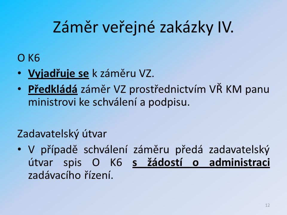 Záměr veřejné zakázky IV. O K6 Vyjadřuje se k záměru VZ.