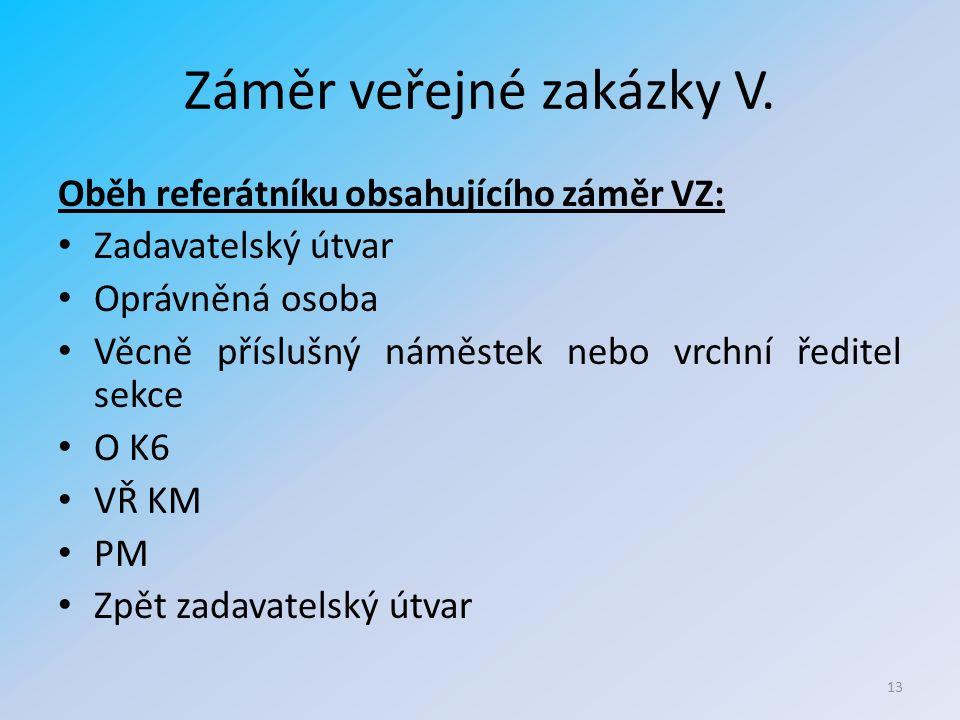 Záměr veřejné zakázky V.