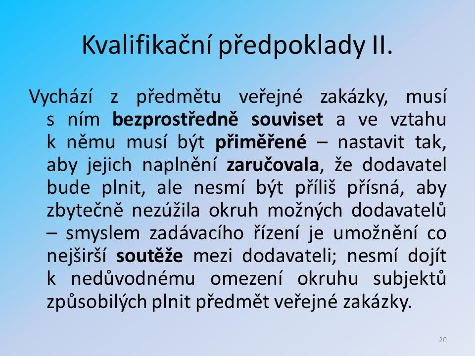 Kvalifikační předpoklady II.