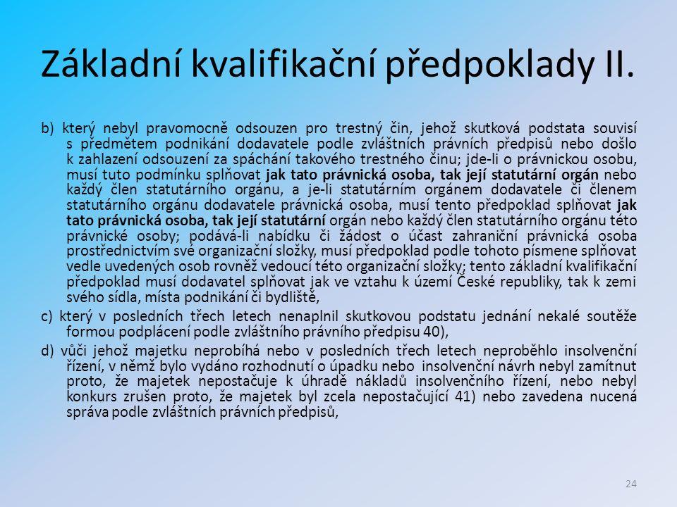 Základní kvalifikační předpoklady II.