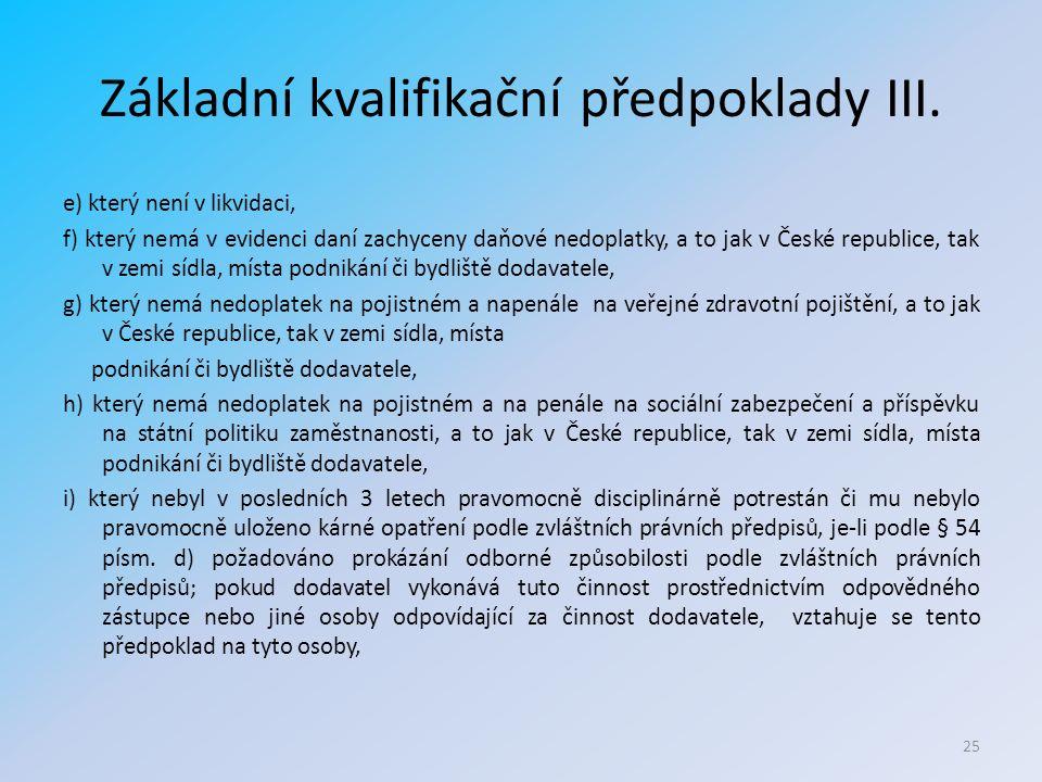 Základní kvalifikační předpoklady III.