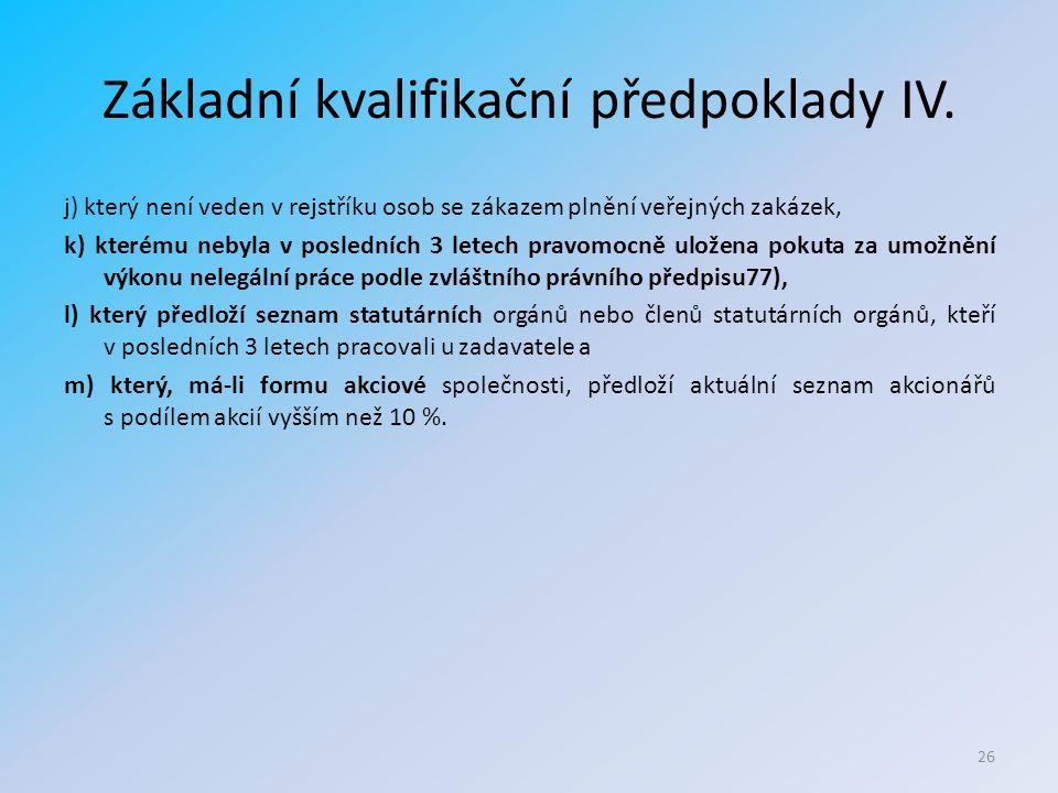 Základní kvalifikační předpoklady IV.