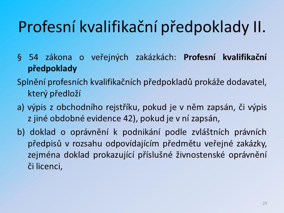 Profesní kvalifikační předpoklady II.