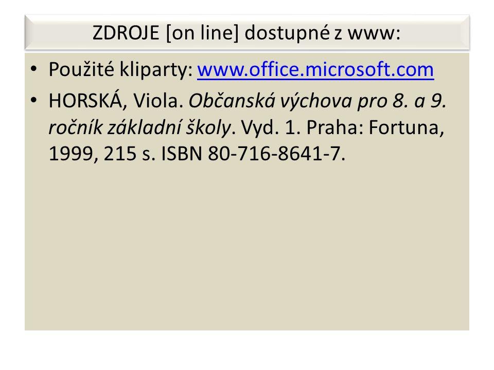 ZDROJE [on line] dostupné z www: Použité kliparty: www.office.microsoft.comwww.office.microsoft.com HORSKÁ, Viola.