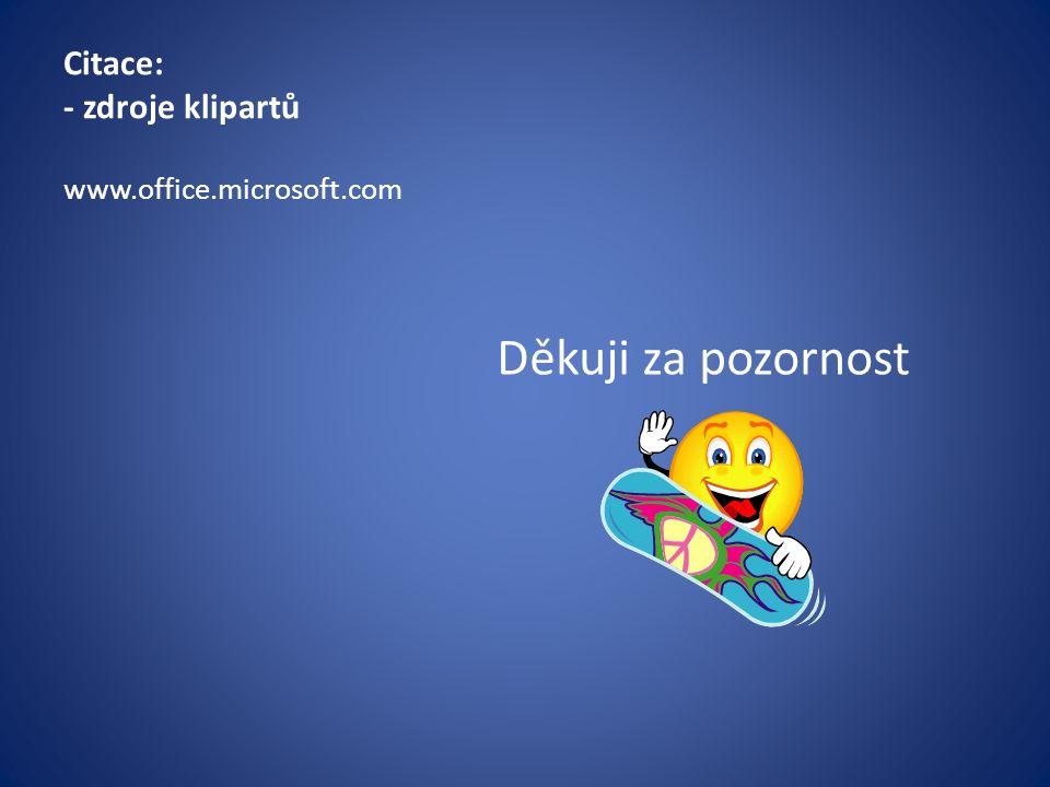 Citace: - zdroje klipartů Děkuji za pozornost www.office.microsoft.com