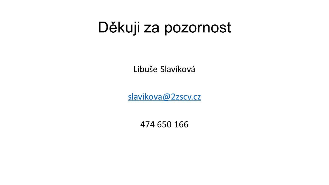 Děkuji za pozornost Libuše Slavíková slavikova@2zscv.cz 474 650 166