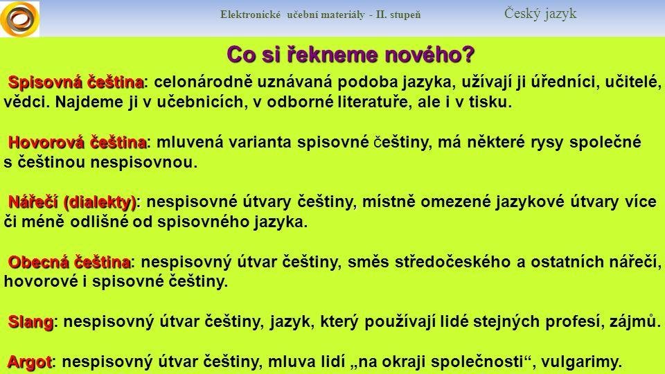 Co si řekneme nového? S pisovná čeština: celonárodně uznávaná podoba jazyka, užívají ji úředníci, učitelé, vědci. Najdeme ji v učebnicích, v odborné l