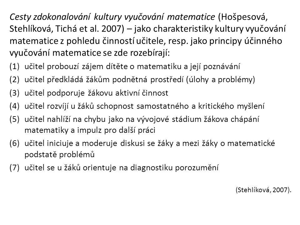 Cesty zdokonalování kultury vyučování matematice (Hošpesová, Stehlíková, Tichá et al.