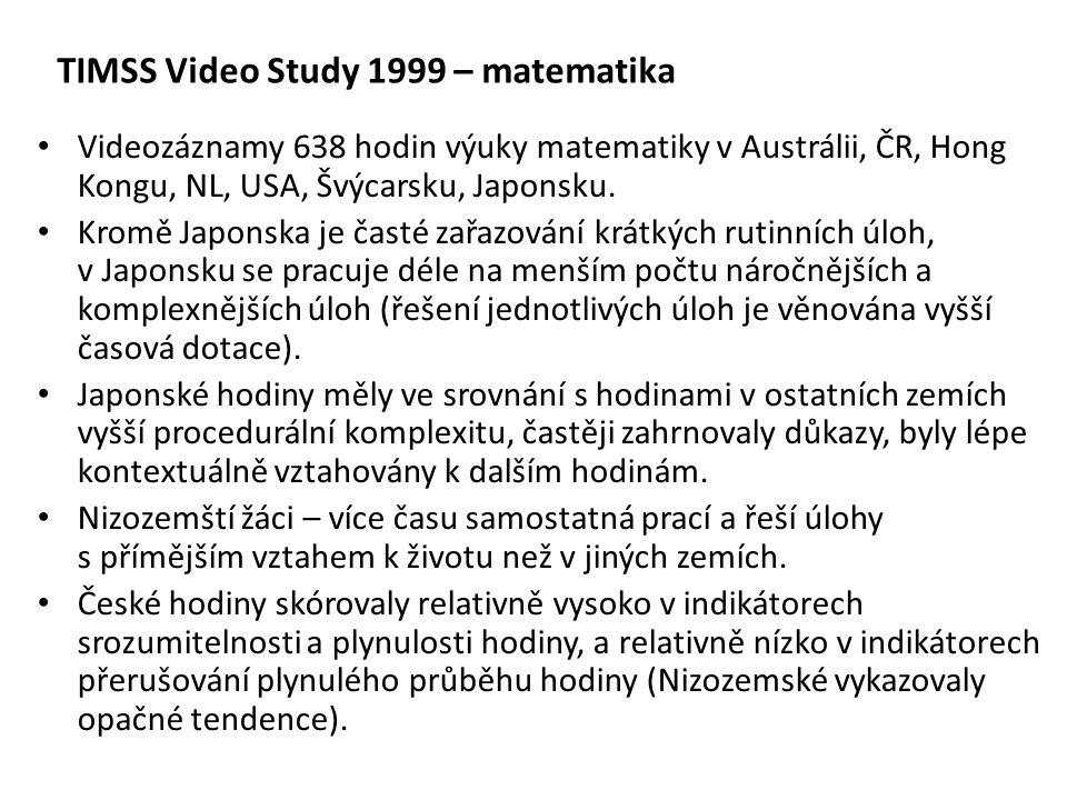 Videozáznamy 638 hodin výuky matematiky v Austrálii, ČR, Hong Kongu, NL, USA, Švýcarsku, Japonsku. Kromě Japonska je časté zařazování krátkých rutinní