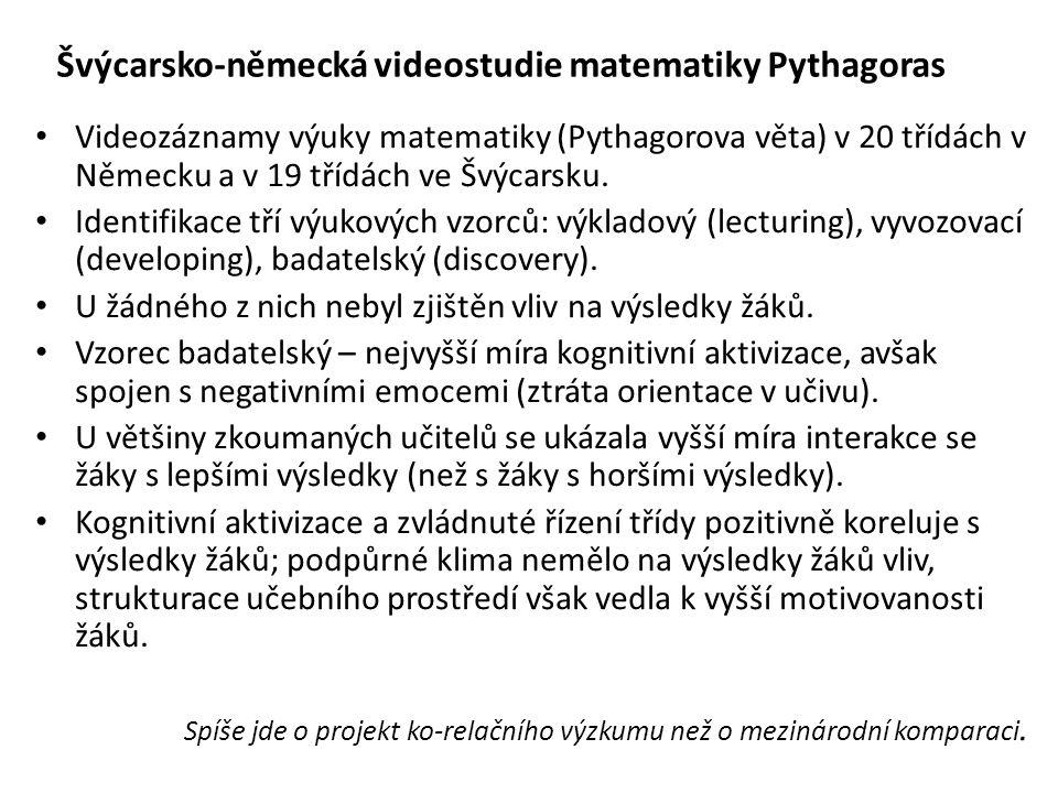 Videozáznamy výuky matematiky (Pythagorova věta) v 20 třídách v Německu a v 19 třídách ve Švýcarsku. Identifikace tří výukových vzorců: výkladový (lec