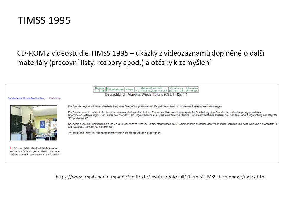 CD-ROM z videostudie TIMSS 1995 – ukázky z videozáznamů doplněné o další materiály (pracovní listy, rozbory apod.) a otázky k zamyšlení https://www.mpib-berlin.mpg.de/volltexte/institut/dok/full/Klieme/TIMSS_homepage/index.htm TIMSS 1995