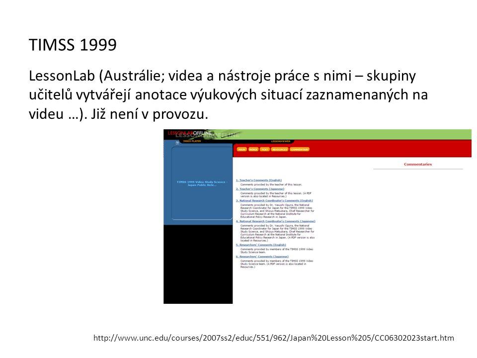 TIMSS 1999 LessonLab (Austrálie; videa a nástroje práce s nimi – skupiny učitelů vytvářejí anotace výukových situací zaznamenaných na videu …). Již ne