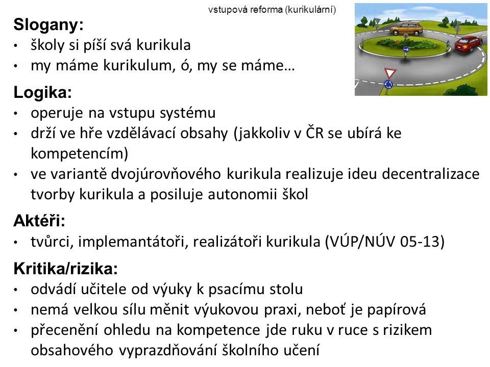 vstupová reforma (kurikulární) Slogany: školy si píší svá kurikula my máme kurikulum, ó, my se máme… Logika: operuje na vstupu systému drží ve hře vzd