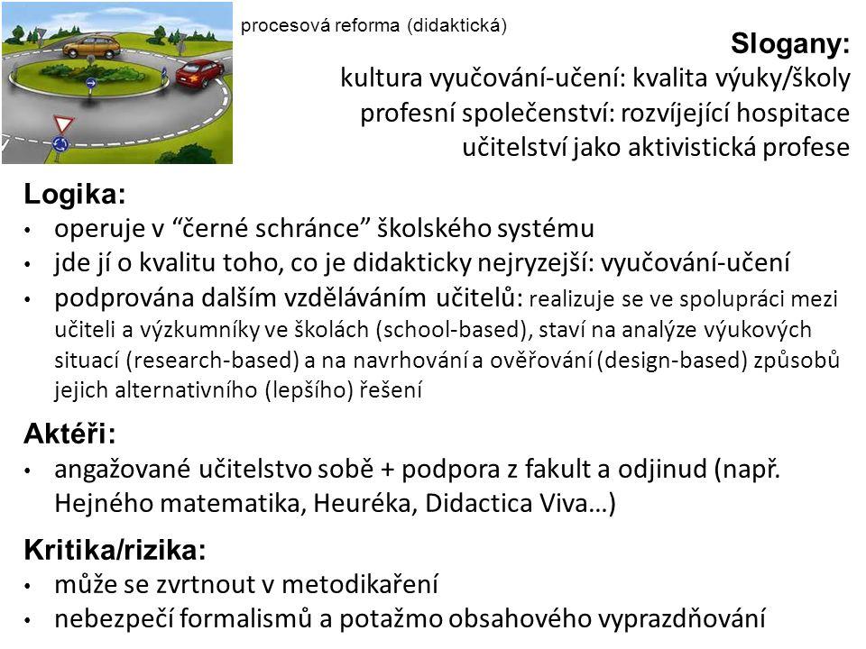 procesová reforma (didaktická) Slogany: kultura vyučování-učení: kvalita výuky/školy profesní společenství: rozvíjející hospitace učitelství jako akti