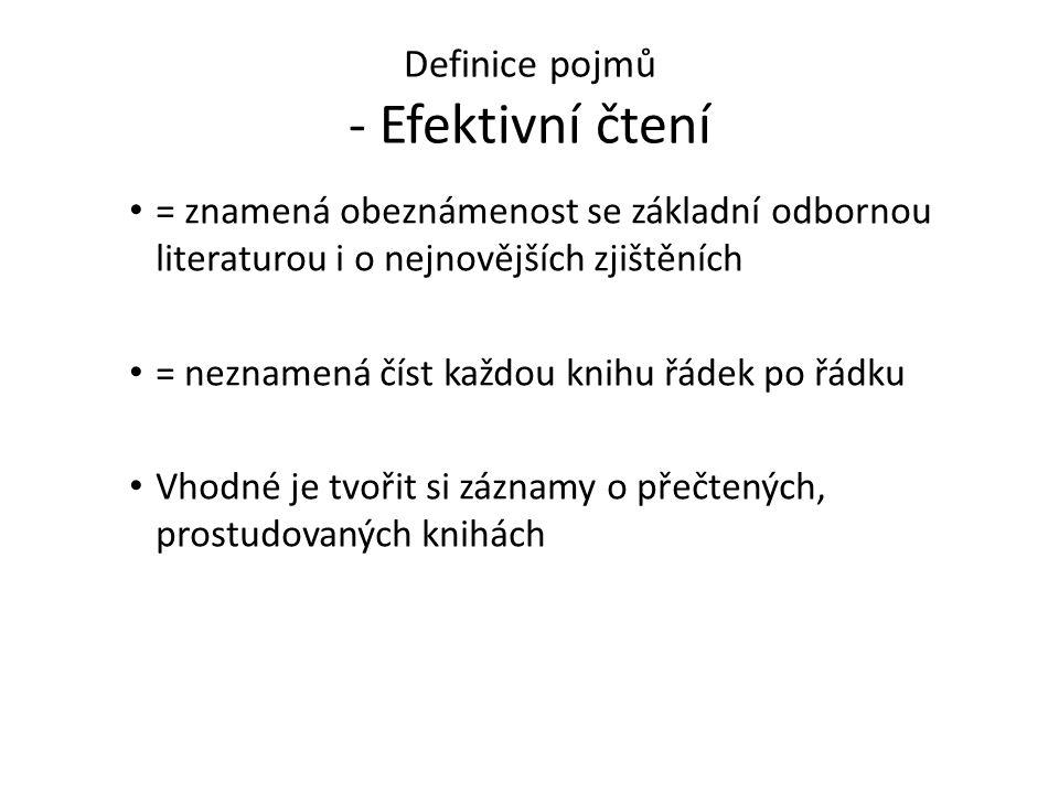 Definice pojmů - Efektivní čtení = znamená obeznámenost se základní odbornou literaturou i o nejnovějších zjištěních = neznamená číst každou knihu řád