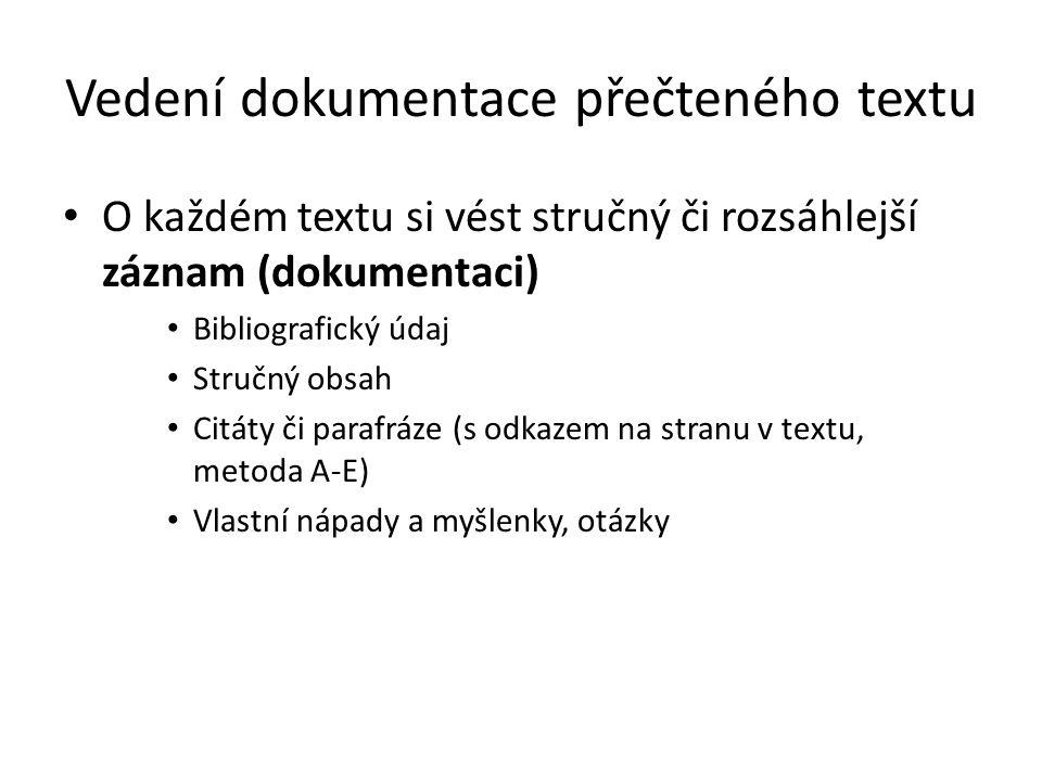 Vedení dokumentace přečteného textu O každém textu si vést stručný či rozsáhlejší záznam (dokumentaci) Bibliografický údaj Stručný obsah Citáty či par