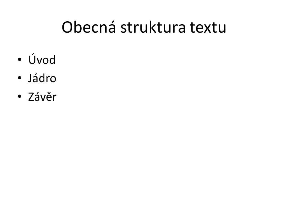 Obecná struktura textu Úvod Jádro Závěr