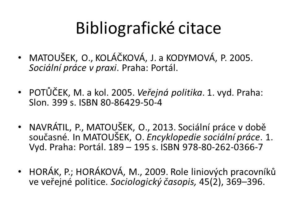 Bibliografické citace MATOUŠEK, O., KOLÁČKOVÁ, J. a KODYMOVÁ, P. 2005. Sociální práce v praxi. Praha: Portál. POTŮČEK, M. a kol. 2005. Veřejná politik