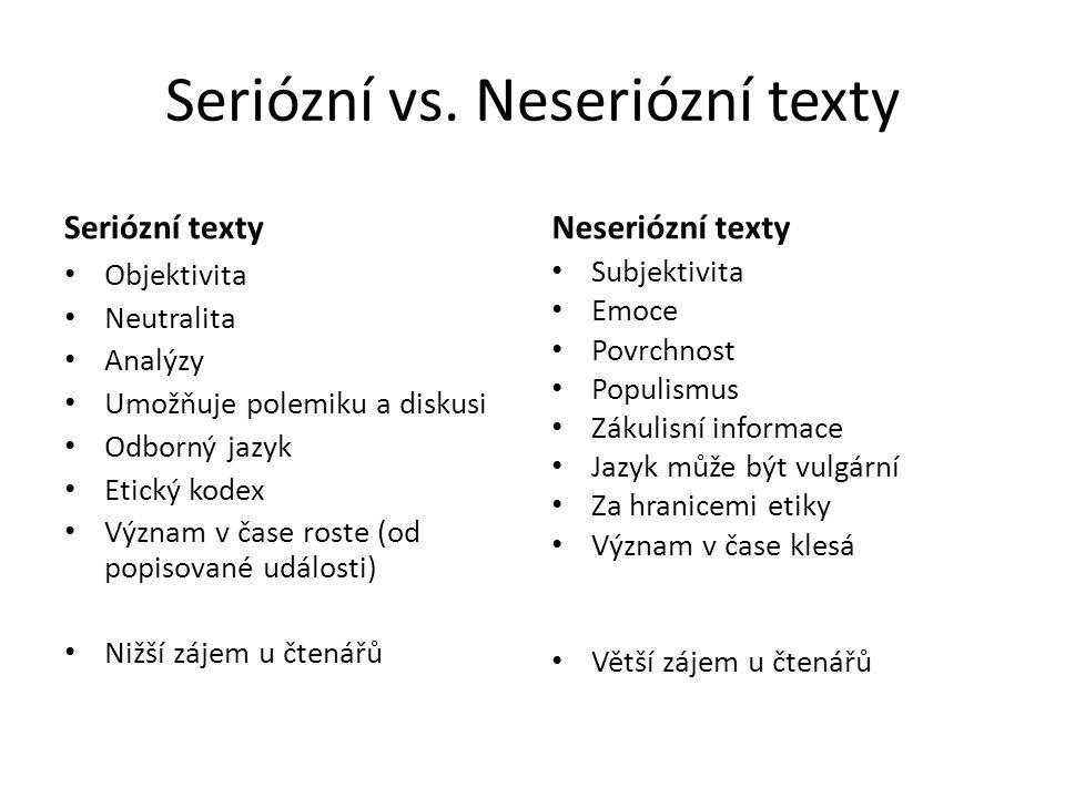 Seriózní vs. Neseriózní texty Seriózní texty Objektivita Neutralita Analýzy Umožňuje polemiku a diskusi Odborný jazyk Etický kodex Význam v čase roste