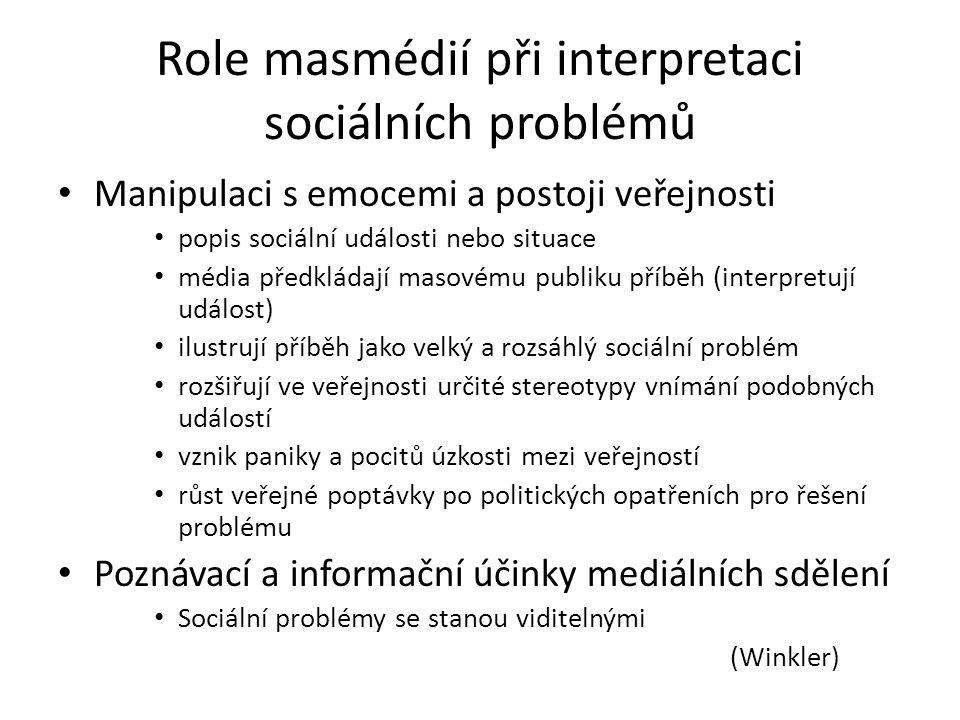 Role masmédií při interpretaci sociálních problémů Manipulaci s emocemi a postoji veřejnosti popis sociální události nebo situace média předkládají ma