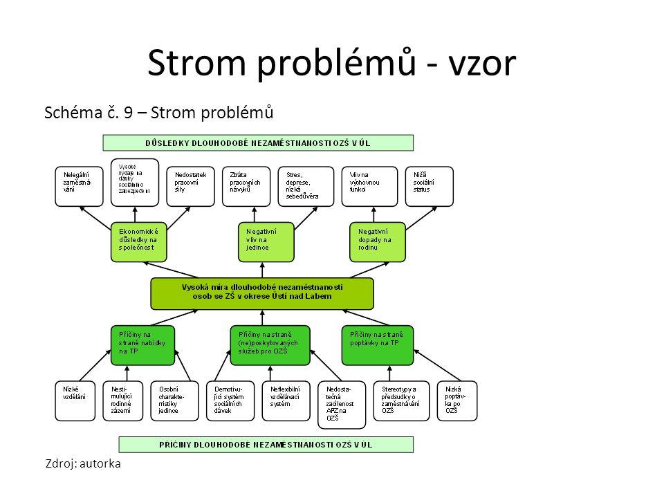 Strom problémů - vzor Schéma č. 9 – Strom problémů Zdroj: autorka