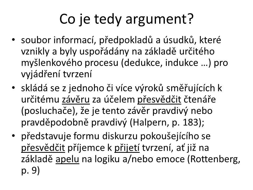 Co je tedy argument? soubor informací, předpokladů a úsudků, které vznikly a byly uspořádány na základě určitého myšlenkového procesu (dedukce, indukc