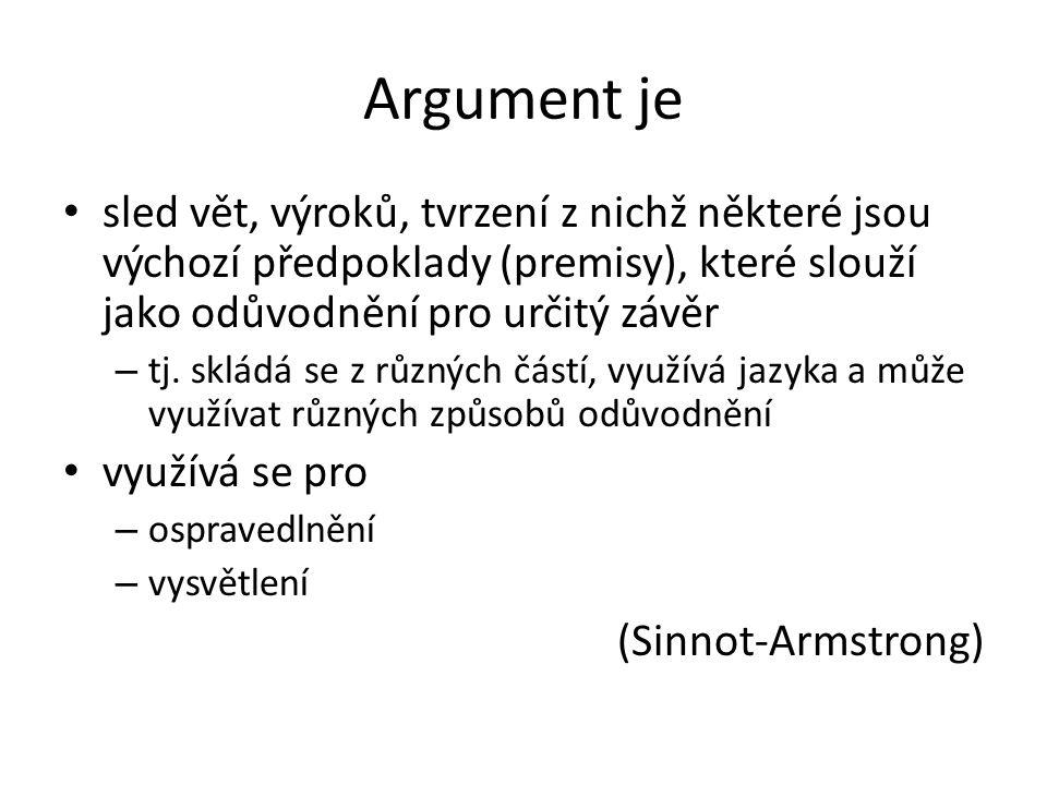 Argument je sled vět, výroků, tvrzení z nichž některé jsou výchozí předpoklady (premisy), které slouží jako odůvodnění pro určitý závěr – tj. skládá s