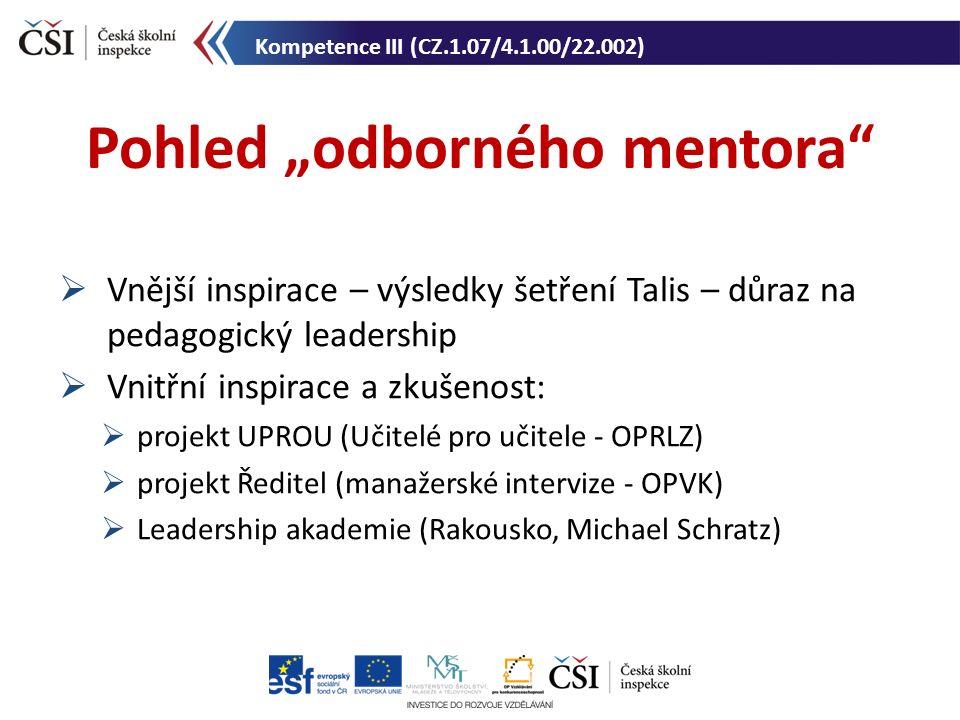 """ Vnější inspirace – výsledky šetření Talis – důraz na pedagogický leadership  Vnitřní inspirace a zkušenost:  projekt UPROU (Učitelé pro učitele - OPRLZ)  projekt Ředitel (manažerské intervize - OPVK)  Leadership akademie (Rakousko, Michael Schratz) Pohled """"odborného mentora Kompetence III (CZ.1.07/4.1.00/22.002)"""