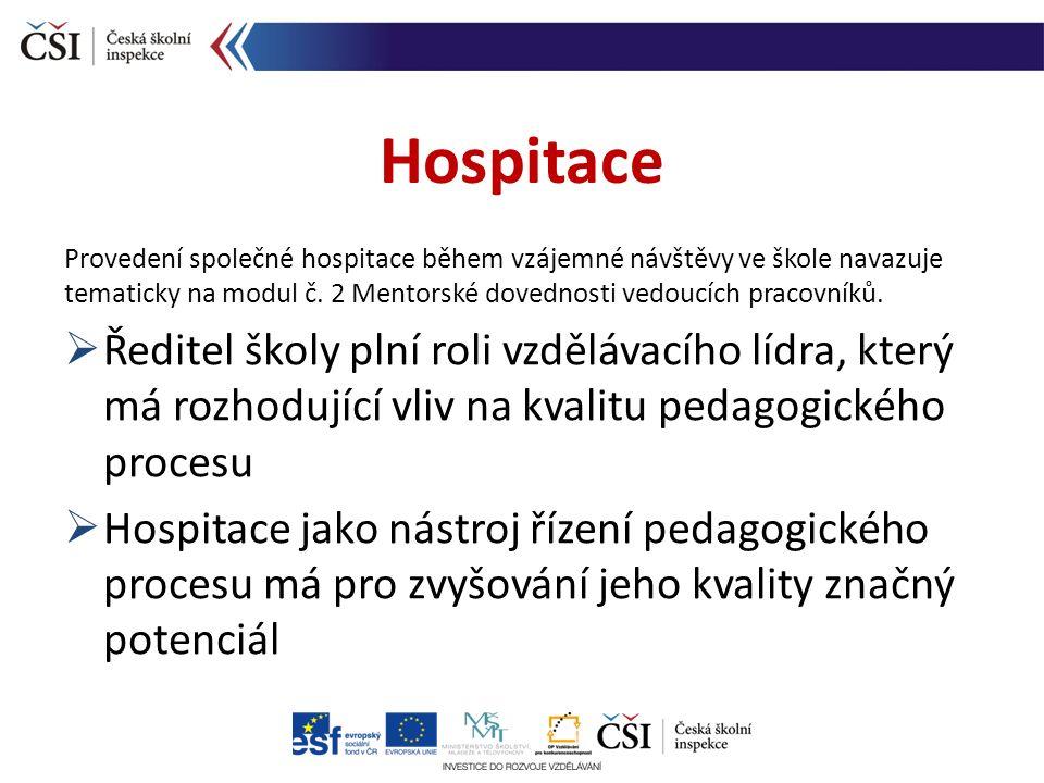 Provedení společné hospitace během vzájemné návštěvy ve škole navazuje tematicky na modul č.