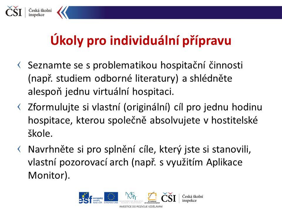 Seznamte se s problematikou hospitační činnosti (např. studiem odborné literatury) a shlédněte alespoň jednu virtuální hospitaci. Zformulujte si vlast