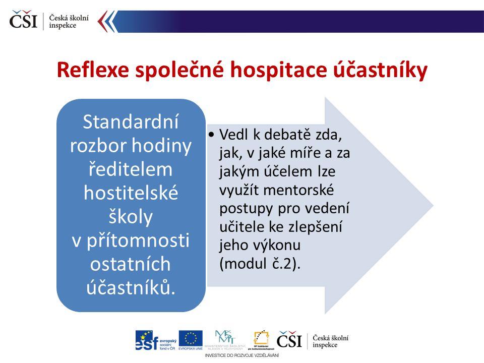 Reflexe společné hospitace účastníky Vedl k debatě zda, jak, v jaké míře a za jakým účelem lze využít mentorské postupy pro vedení učitele ke zlepšení jeho výkonu (modul č.2).
